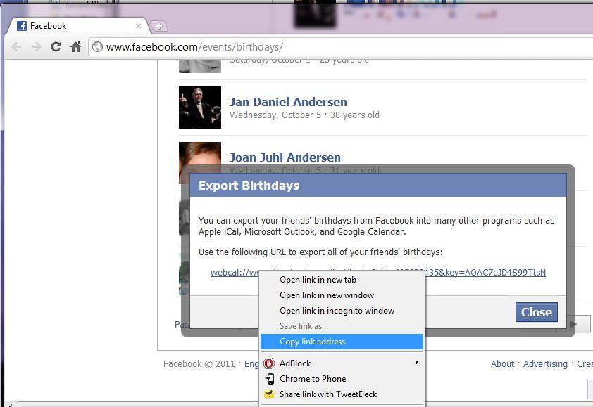 facebook fødselsdage i kalender